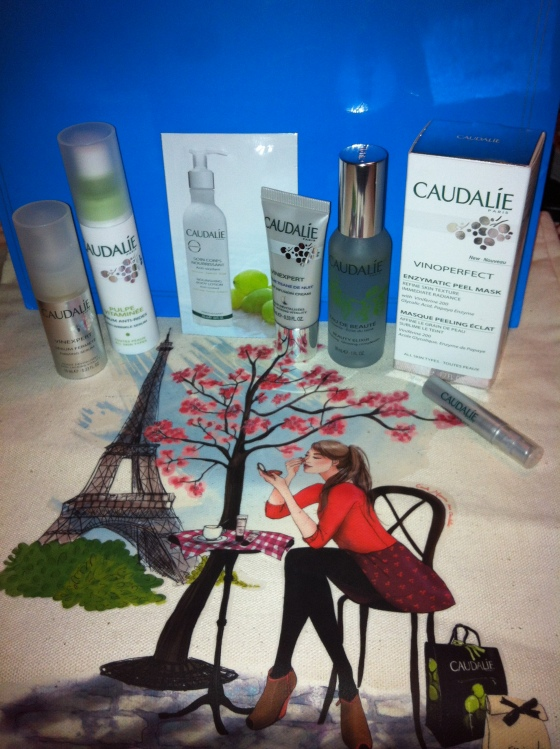 Caudalie Catch! Plus the adorable tote bag I got as a gift with purchase.