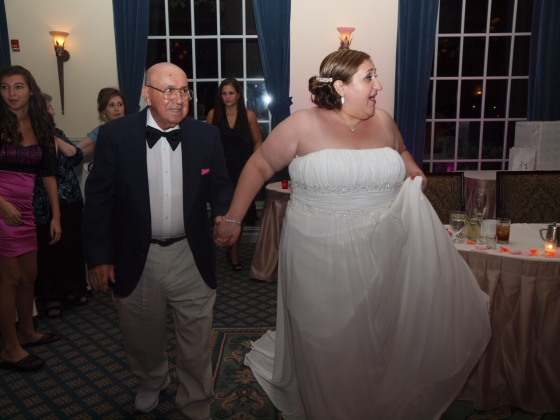 My grandfather and I dance at my wedding, July 2011.