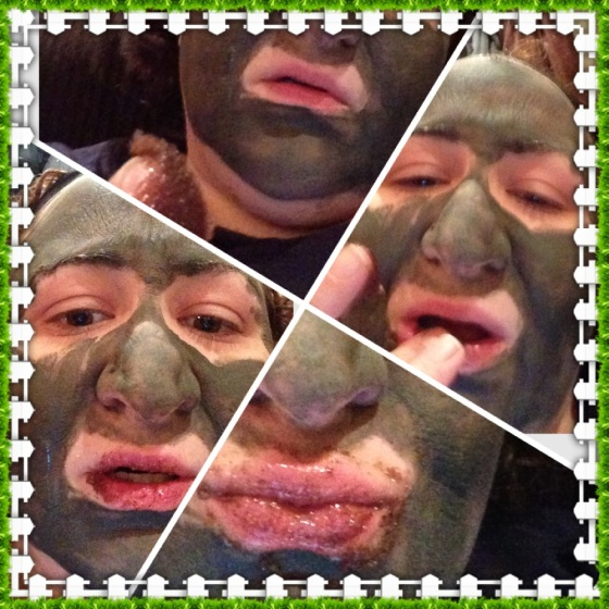 Clockwise from top: an examination of the lip scrub, me applying, me trying to not eat it, me puckering up with it all over my face