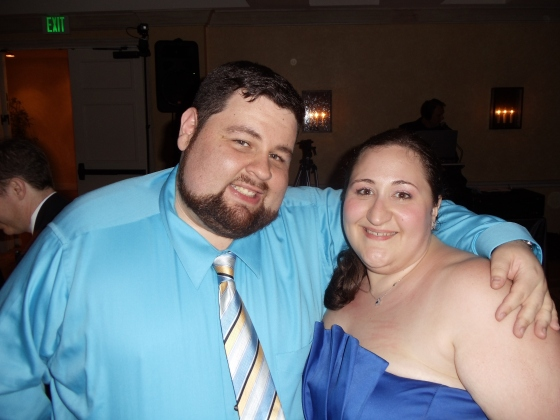 My hubs and I at the wedding. My side ponytail conceals the gray stragglers.