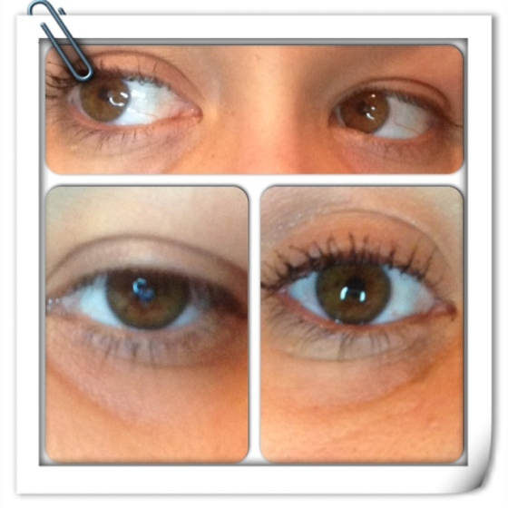 Top is a side by side. Left is without mascara, right is with mascara.